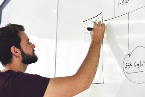 Bearded man draws on a whiteboard in his graduate job
