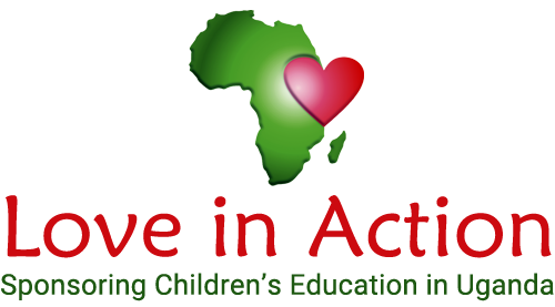 Love in Action charity logo - the continent of Africa with a heart where Uganda is located